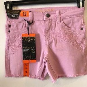 NWT: VIGOSS Girls super stretch Twill Pink shorts